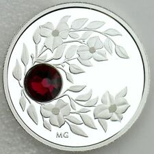 2012 $3 January Birthstone Garnet Pure Silver with Swarovski Crystal Proof Coin