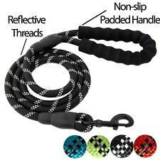 Black 5FT Heavy-duty Dog Rope Leash Padded Handle Reflective Nylon Leash