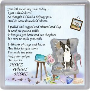 """Boston Terrier Dog Coaster """"HOME SWEET HOME Poem ...."""" Novelty Gift by Starprint"""