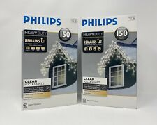2- New PHILIPS Heavy Duty 150 Bulbs Clear Icicle Lights White Wire