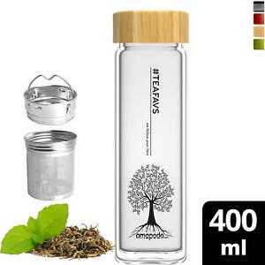 Teeflasche mit Sieb 0.4l Trinkflasche Glas Tee to go Teebecher Teamaker Bambus