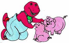 "7.5""  Barney on a farm animal pig fabric applique iron on character"