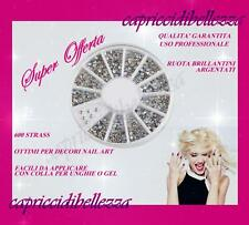 Ruota 600 Strass brillantini rotondi argentati ricostruzione unghie nail art