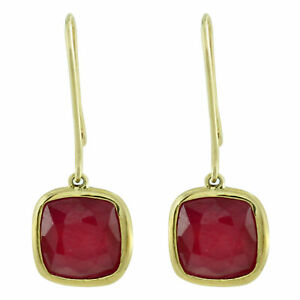 Casual Earrings with Natural Gf Ruby 14k Yellow Gold 10.08 Ct. Gemstone