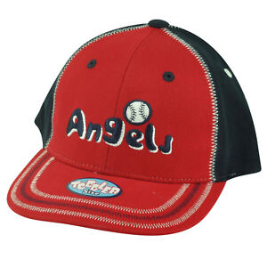 MLB Los Angeles Angels Toddler Boy Stitch Hat Cap  Adjustable Two Tone Red