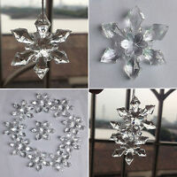 10/20pcs Crystal Icicle Snowflake Xmas Tree Clear Transparent Christmas Decor