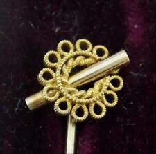 A CASED VICTORIAN FILIGREE GOLD  STICK , SCARF PIN