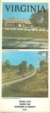 1970 VIRGINIA Official State Highway Road Map Lynchburg Charlottesville Richmond