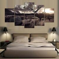Framed  Large  poster canvas 5 pieces  Deer Buck Antlers Tree Wildlife