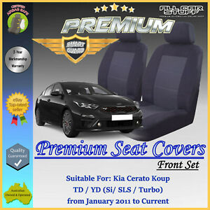 Premium Black Front Seat Covers for Kia Cerato TD/YD Koup from 01/2011 to 2021