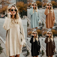 Women Long Sleeve Sweater Loose Knitted Jumpers Pullover Top Loose Short Dress P