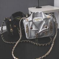 Women's Rivet PU Leather Handbag Chain Shoulder Bag Jacket Messenger Crossbody