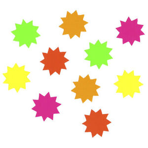 1st 150 x Neon Sale Card Fluorescent Mini Stars Price Display Tags Label 3.2cm