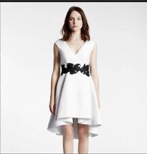 Halston Heritage White Hi Low Fit & Flare Dress Size 2 heavy Black Trim