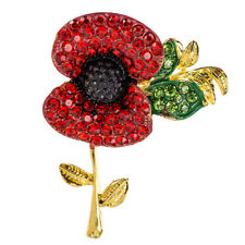 Red Rhinestone Poppies-Gift Remembrance Beautiful Poppy Brooch Flower Pin Badges