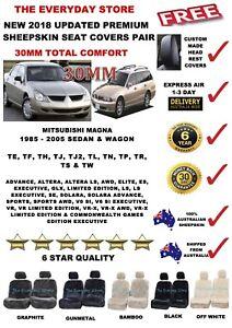 Mitsubishi Magna 1985-2005 Premium Sheepskin Seat Cover Pair Airbag Safe 30MM