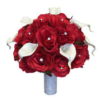 Red Bridal Bouquet - Silk Rose Bouquet with Real Touch Calla Lily *Pick Ribbon*