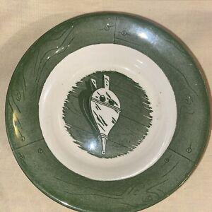 "Vintage Colonial Homestead Berry Bowl Green Royal China 5-1/2"" #1915"