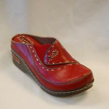 L'Artiste Chino by Spring Step Women's Red Hand Painted Leather clog size 37