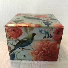 Glass BIrd Floral Square Trinket Jewelry Box Beveled Edges