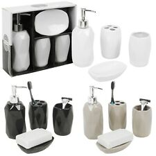 Ceramic 4 Piece Bathroom Soap Dispenser Toothbrush Holder Mug Dish Accessori Set