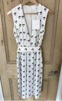 Victoria Beckham Pleated Daisy Print Midi Dress