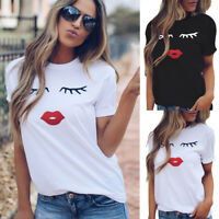 Women Summer Eyelash O-Neck Top Short Sleeve Blouse Casual Loose Tops T-Shirt