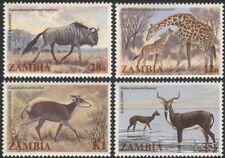 Zambia 1983 Jirafa/ñus/Antílope/Animales/Vida Salvaje/naturaleza 4v Set (b4813)