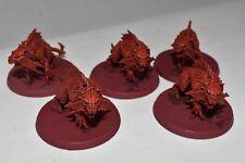 5 Khorne Flesh Hounds Models Built & Painted Chaos Warhammer 40K Deamons AHWI