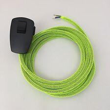 2 m câble textile de raccordement réticulaire Neon Jaune Bouchon/Interrupteur