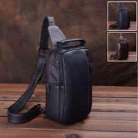 Men's Real Leather Sling Backpack Chest Pack Single Strap Shoulder Daypack Bag