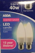 2 Pack ASDA Energy Saver LED Candle Bulb 5.9W=40W Large Bayonet BC 470 Lumens