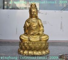 Old Peking Collectable Brass Hand Carved Kwan-yin Statue W Daqing Mark NR