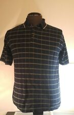 Bolle Golf Polo Shirt Men's Size Medium Short Sleeve Blue Striped Checked