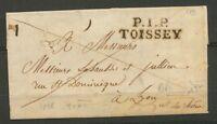 1826 Lettre Marque P1P TOISSEY 32*11mm AIN Superbe X3268