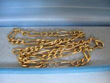 1990s vintage placcato in oro 18ct 18 pollici Collana Catena Figaro Gioiello 20.6g