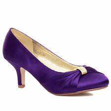 Damas Zapatos De Tacón Bajo Mediados de Satén para Mujer Boda Nupcial Dama De Honor Stiletto KITTEN SHOE