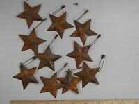 "DLCC~10 PCS PRIMITIVE RUSTIC 1.5"" metal tin barn stars with safety pin rust"