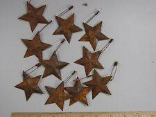 "DLCC~10 PCS PRIMITIVE RUSTIC 1.5"" metal tin barn stars with safety pin rust"