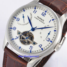 Parnis 43mm White Dial Seagull Power Reserve Movement Men's Automatic Watch