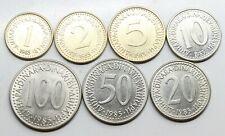 LOTE *7 YUGOSLAVIA 1985 1,2,5,10,20,50 Y 100 DINARES MONEDA
