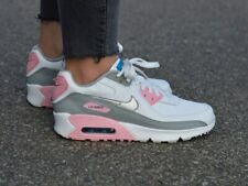 NIKE AIR MAX 90 WOMENS GIRLS TRAINERS WHITE LEATHER CD6864-004
