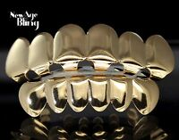 Custom Fit 14k Gold Plated Teeth Grillz Caps Top & Bottom Set Hip Hop Grill