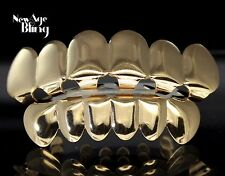 Custom Fit 14k Gold Plated Hip Hop Teeth Grillz Caps Top & Bottom Grill Set