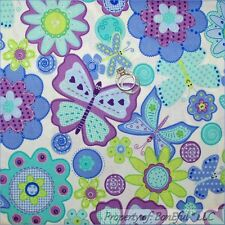 BonEful Fabric FQ Cotton White Purple Aqua Button Swirl Glitter Flower Butterfly