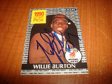 1990 NBA HOOPS #398 WILLIE BURTON HEAT RC Minnesota SIGNED AUTHENTIC AUTOGRAPH