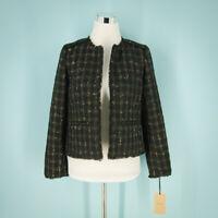 Halogen Size Petite Small PS Blazer Tweed Jacket Black Gold Metallic Open NWT