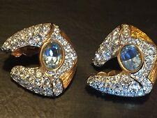 Vintage SWAROVSKI gold tone blue clear CRYSTAL SWAN Logo Clip on Earrings
