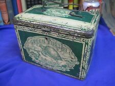 GREEN TURTLE CIGARS ANTIQUE old TOBACCO TIN CAN VINTAGE SMOKING LUNCH BOX