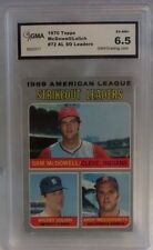 1970 TOPPS MCDOWELL/LOLICH/MESSERSMITH AL STRIKEOUT LEADERS #72-GRADED EX-NM+